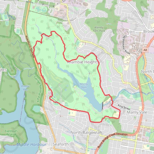 Manly Dam Loop GPS track, route, trail
