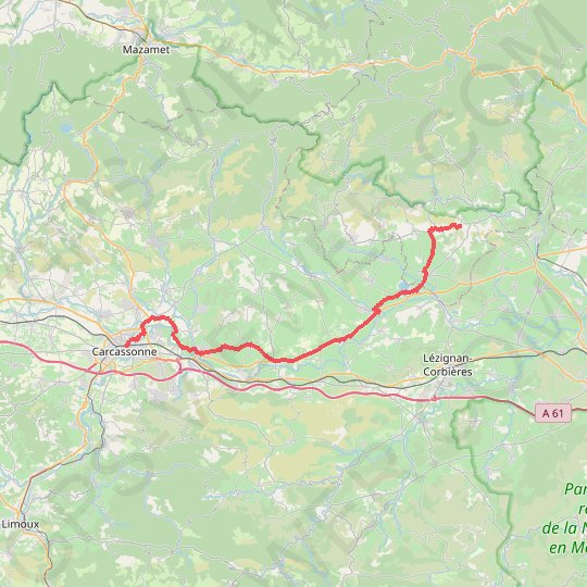 Camping le Vernis-Carcassonne GPS track, route, trail